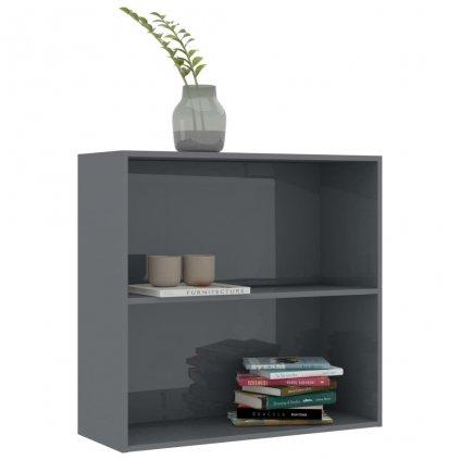 2-patrová knihovna Bieber - šedá vysoký lesk   80x30x76,5 cm