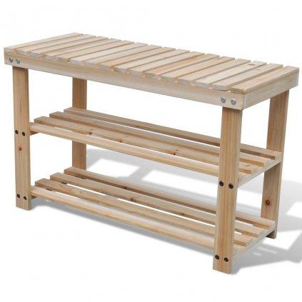 2v1 Odolný dřevěný botník s lavicí