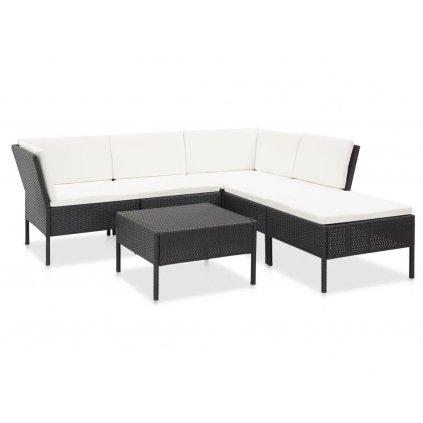 Zahradní sedací souprava Parrott - 6dílná - s poduškami - polyratan | bílá + černá