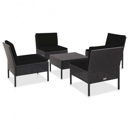 5-dílná zahradní sedací souprava s poduškami Garden - polyratan | černá