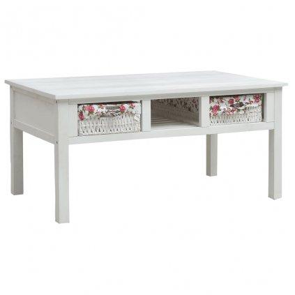 Konferenční stolek Macune - 99,5 x 60 x 48 cm - dřevo | bílý