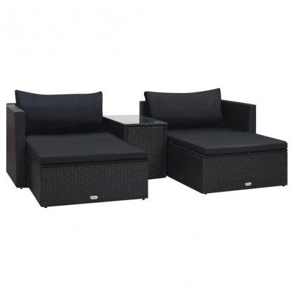 5-dílná zahradní sedací souprava Ferns s poduškami - polyratan | černá