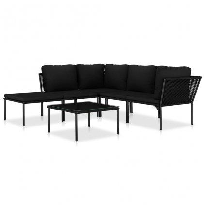6-dílná zahradní sedací souprava Froebel s poduškami - PVC | černá PVC