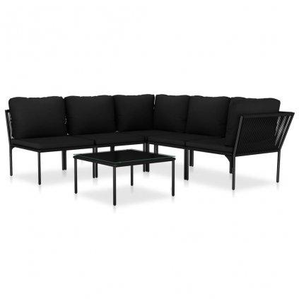 6-dílná zahradní sedací souprava Cuthbert s poduškami - PVC | černá