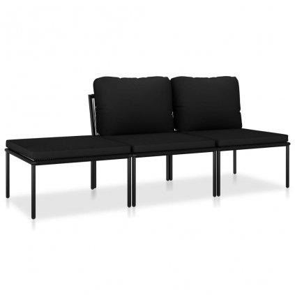3-dílná zahradní sedací souprava Oranna s poduškami - PVC   černá