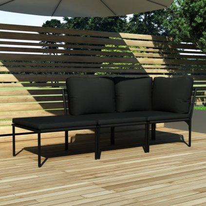 3-dílná zahradní sedací souprava s poduškami - PVC | černá