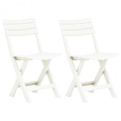 Skládací zahradní židle - plast - 2 ks   bílé