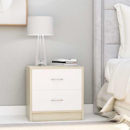 Noční stolek Meeker - MDF - 40x30x40 cm   bílá s dubovým dřevem