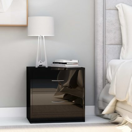 Noční stolek Meeker - MDF - 40x30x40 cm | černý lesklý