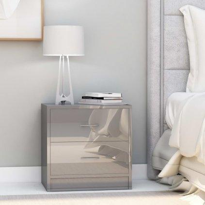 Noční stolek Meeker - MDF - 40x30x40 cm | šedý lesklý