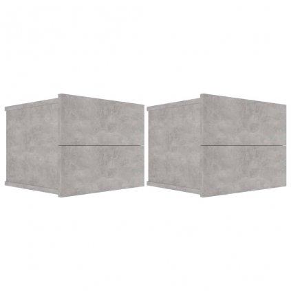 Noční stolky - dřevotříska - 2 ks - betonově šedé | 40x30x30 cm