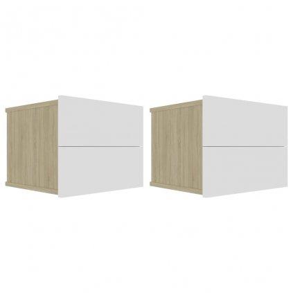Noční stolky - dřevotříska - 2 ks - bílé a dub sonoma   40x30x30 cm