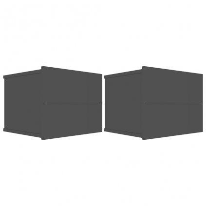 Noční stolky Noone - 2ks - černé s vysokým leskem | 40x30x30 cm