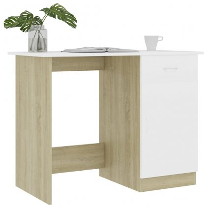 Psací stůl Alls - bílý a dub sonoma | 100x50x76 cm