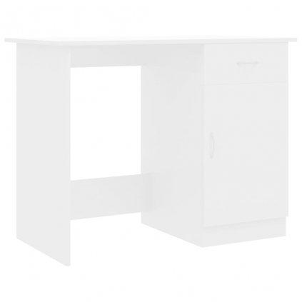 Psací stůl Jewell - dřevotříska - bílý s vysokým leskem | 100x50x76 cm