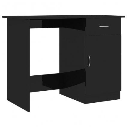 Psací stůl Cloverdale - dřevotříska - černý s vysokým leskem | 100x50x76 cm dřevotříska