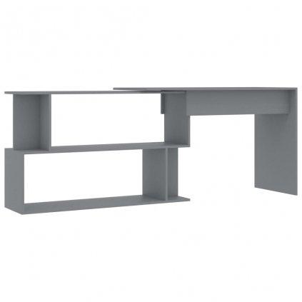 Rohový psací stůl Lloys - dřevotříska - šedý | 200x50x76 cm