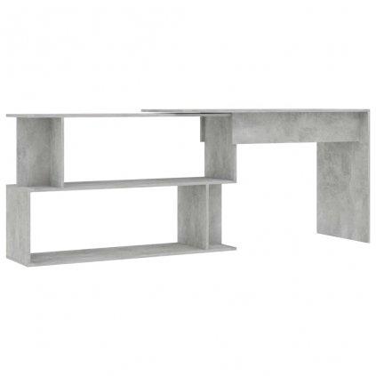 Rohový psací stůl Perron - dřevotříska - betonově šedý | 200x50x76 cm