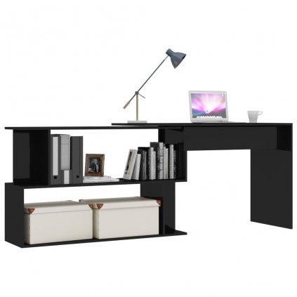 Rohový psací stůl Simple - černý vysoký lesk | 200x50x76 cm
