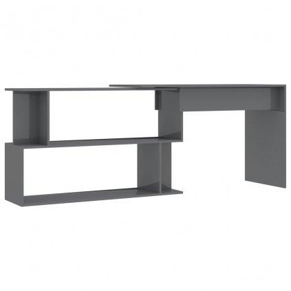 Rohový psací stůl Avelley - dřevotříska - šedý vysoký lesk | 200x50x76 cm