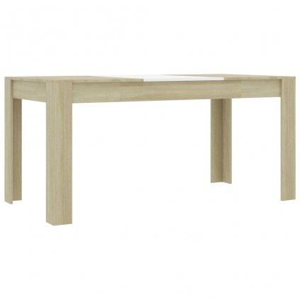 Jídelní stůl Clyde - bílý a dub sonoma - dřevotříska   160x80x76 cm