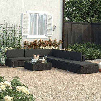 Zahradní sedací souprava s poduškami - 6dílná - polyratan | černá
