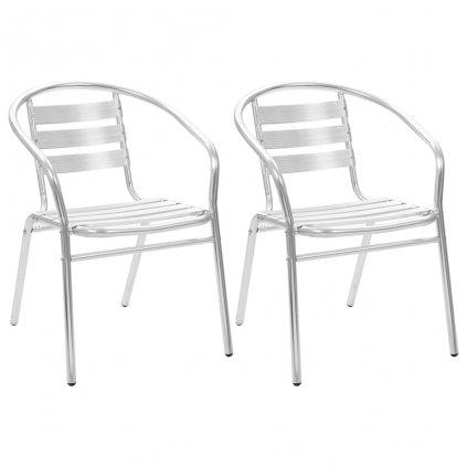 Stohovatelné zahradní židle - 2 ks | hliník