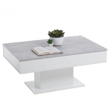 Konferenční stolek Helium | betonově šedý a bílý