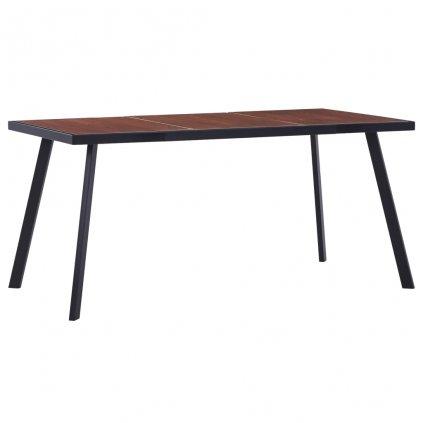 Jídelní stůl Courtney - tmavé dřevo a černý | 160x80x75 cm