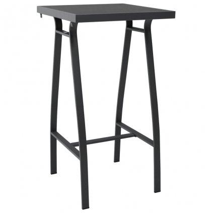 Zahradní barový stůl Budock - 60x60x110 cm - tvrzené sklo | černý
