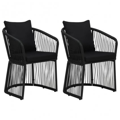 Zahradní židle Gleun s poduškami a polštáři - PVC ratan - 2 ks | černé