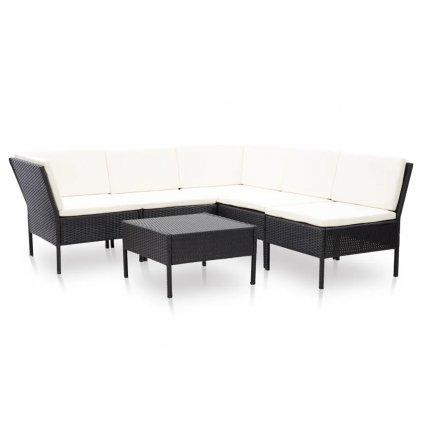 Zahradní sedací souprava Catarina s poduškami - polyratan | černo-bílá