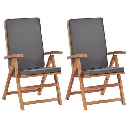 Polohovací zahradní židle Westlake s poduškami - 2 ks - masivní teak | šedé