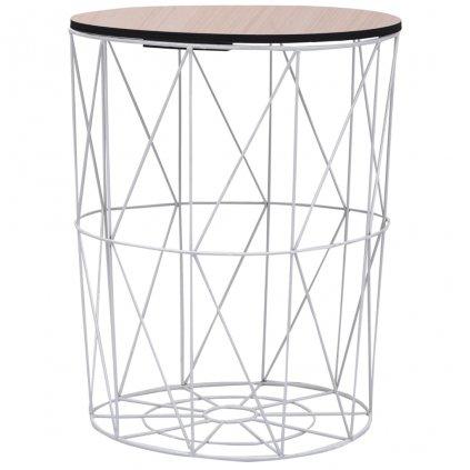 Konferenční stolek Datil - O47 cm   bílý