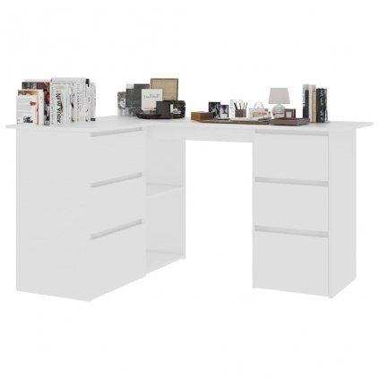 Rohový psací stůl Quova - bílý | 145x100x76 cm