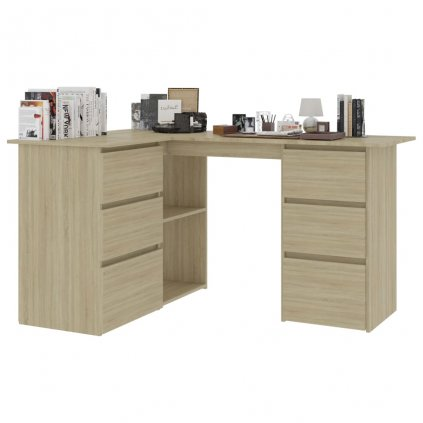 Rohový psací stůl Quova - dub sonoma | 145x100x76 cm