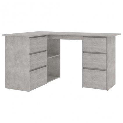 Rohový psací stůl Warnbro - dřevotříska - betonově šedý | 145x100x76 cm