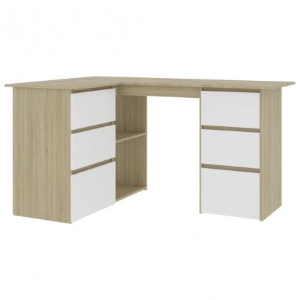 Rohový psací stůl Gillam - dřevotříska - bílý dub sonoma | 145x100x76 cm