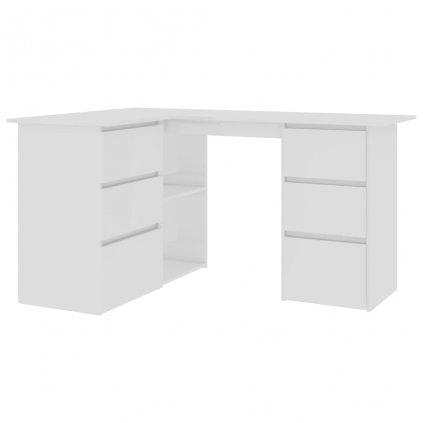 Rohový psací stůl Verna - dřevotříska - bílý vysoký lesk | 145x100x76 cm