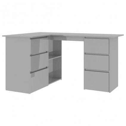 Rohový psací stůl Millendon - dřevotříska - šedý vysoký lesk   145x100x76 cm