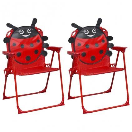 Dětské zahradní židle - 2 ks - textil | červené