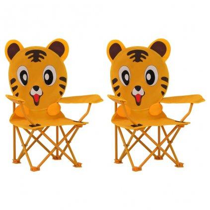 Dětské zahradní židle - 2 ks - textil | žluté