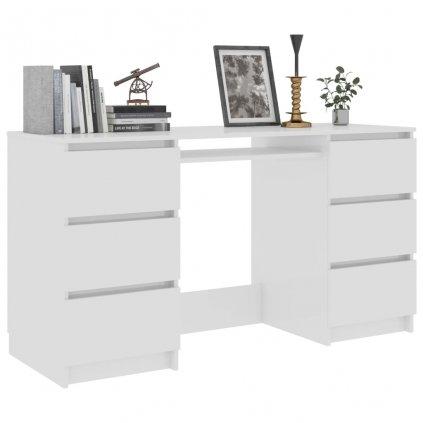 Psací stůl Nathan - bílý s vysokým leskem | 140x50x77 cm