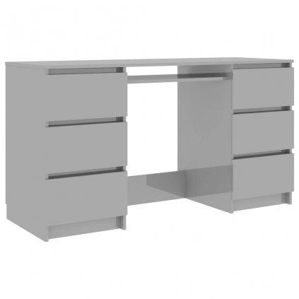 Psací stůl Wattleup - dřevotříska - šedý s vysokým leskem   140x50x77 cm