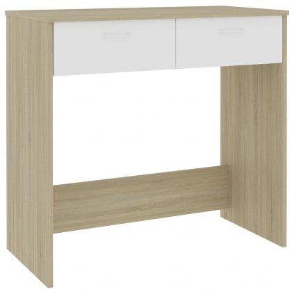 Psací stůl Sensey - dřevotříska - bílý a dub sonoma | 80x40x75 cm