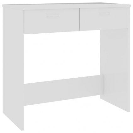 Psací stůl Nichollson - dřevotříska - bílý s vysokým leskem | 80x40x75 cm