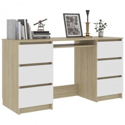 Psací stůl Nathan - bílý a dub sonoma | 140x50x77 cm