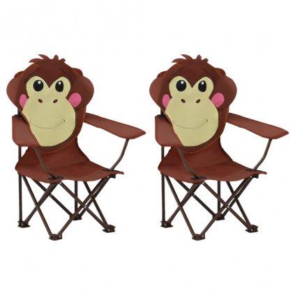 Dětské zahradní židle - 2 ks - textil | hnědé