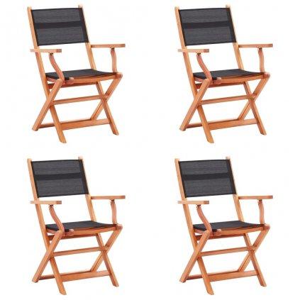 Skládací zahradní židle - masivní eukalyptus a textilen - 4 ks | černé