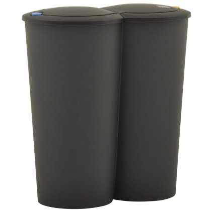 Dvojitý odpadkový koš - černý   2x25 l